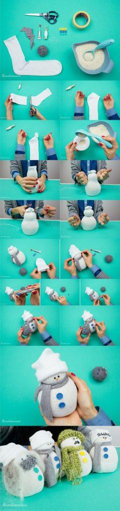 muñeco nieve calcetín